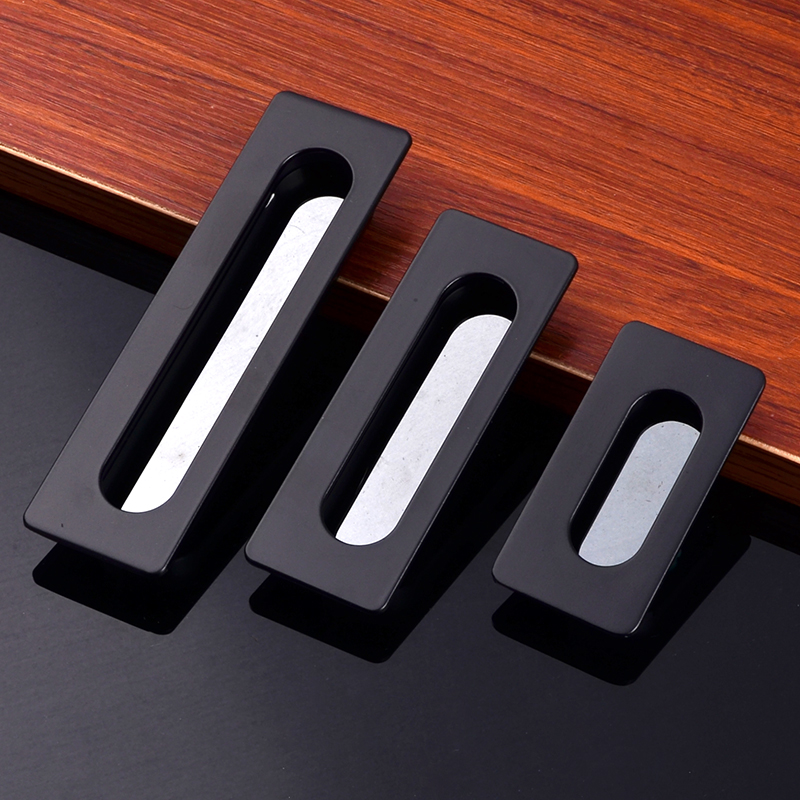 3Sizes Zinc Alloy Simple Invisible Door Handles Black Wardrobe Drawer Cabinet Kitchen Modernized Knobs Hardware Accessories modern simple invisible cabinet door knobs