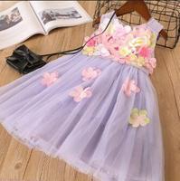 Everweekend الفتيات القوس زهرة تول الكشكشة ثوب الأميرة الأرجواني والأبيض اللون حزب الغربي أزياء الربيع clotning