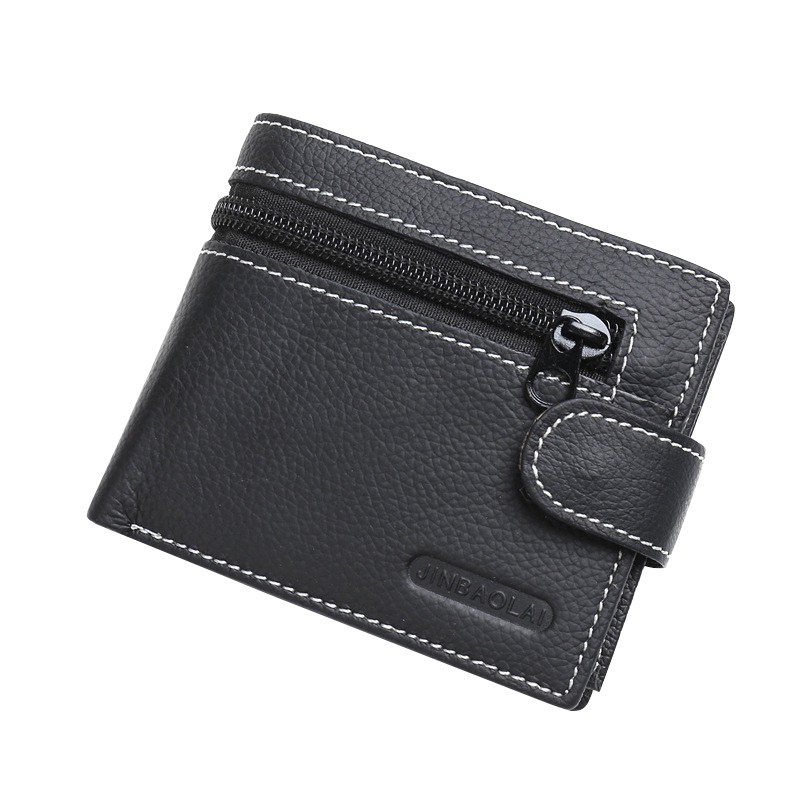 Genuine Leather Luxury Mens Wallet Business Zipper& Hasp Coins Purses Small Cards Holder Short Carteira Masculina Photo Slot