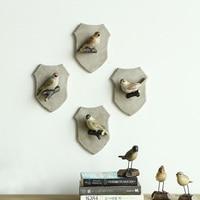 4pcs/set American Decorative Hook Cute Bird Creative Resin Animal Model Bathroom Hook Bird Hook Wall Hanging Hook