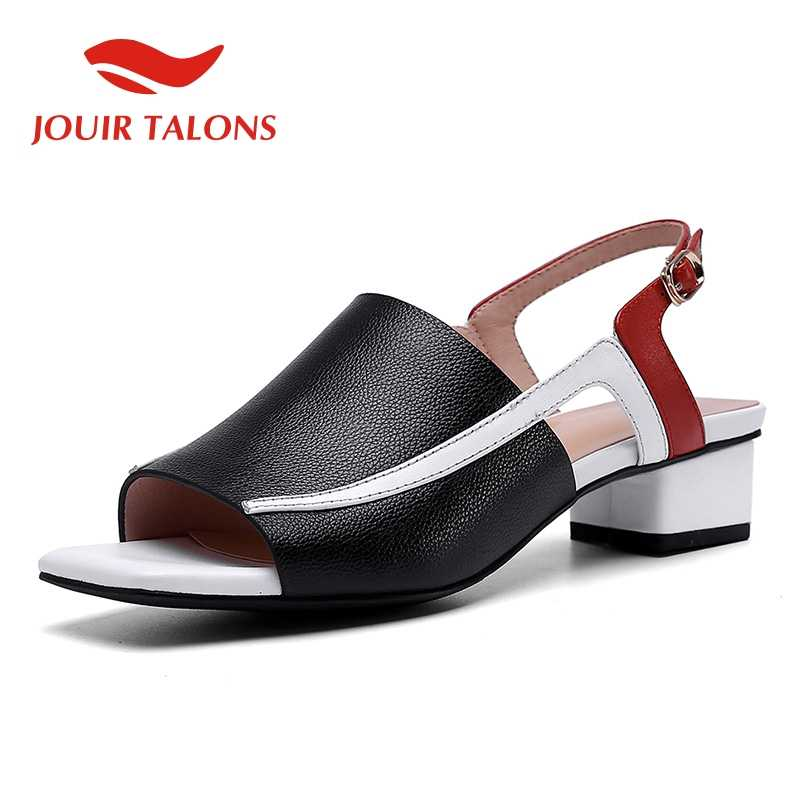 JOUIR TALONS 2019 cow genuine leather pigskin sexy chunky heels women Shoes leisure sandals woman summer open toe shoes woman