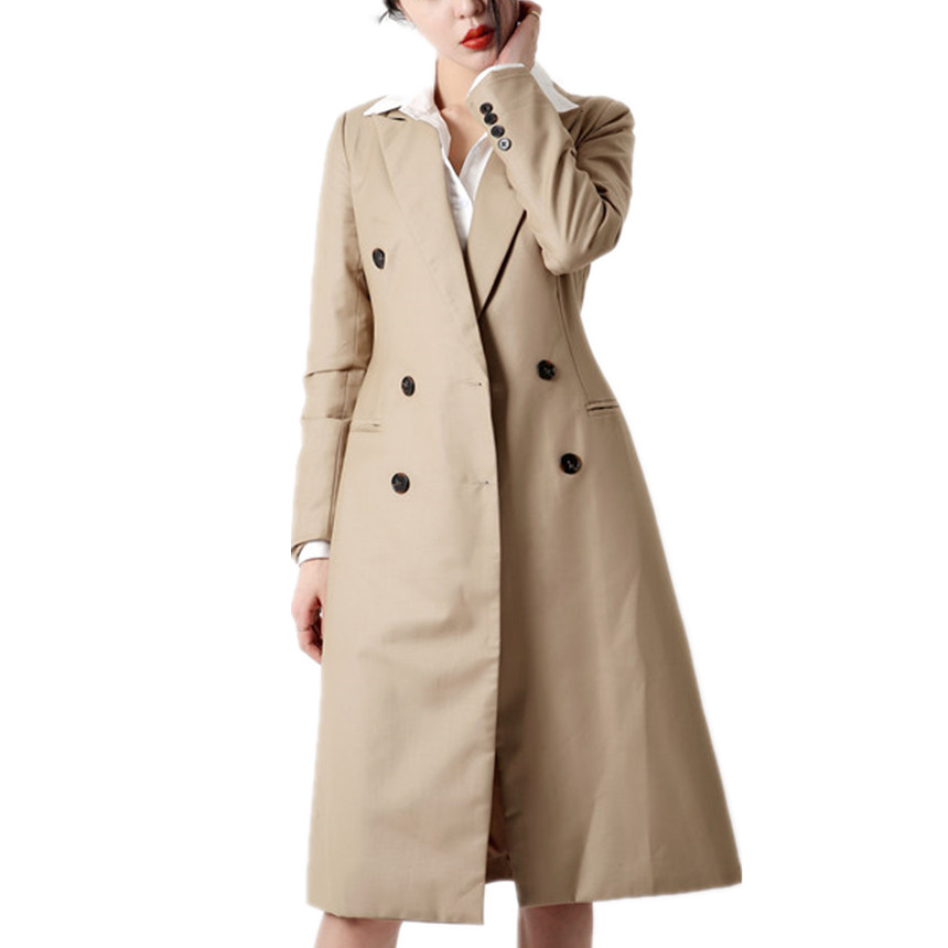 Femmes Longues Vers vent Trench Mode Manches Bas Mince Double Coupe plaid coat New Gray Boutonnage Automne Tournent Le khaki À xRXqwFpx7r