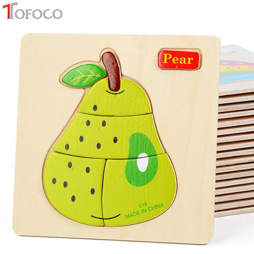 TOFOCO Colorful Kid Wooden Animals Cartoon Picture Puzzle Kids Baby Educational Toys For Children newborn early Montessori cartoon wooden puzzle 1000pieces animals cube wood kids toys educational montessor ijigsaw puzzle adulto children toys 60d0046