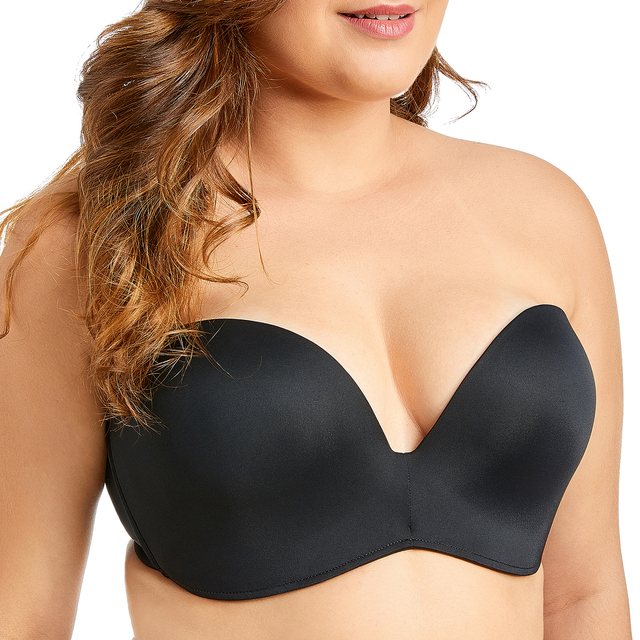Delimira Women's Slightly Lined Custom Lift Seamless Strapless Bra 2