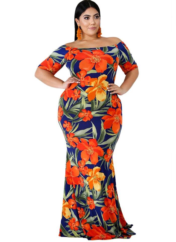 Plus Size dress women Off Shoulder Mermaid Vintage Dress