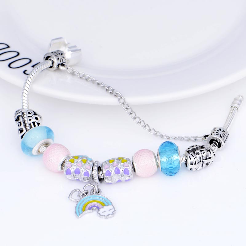 JUNESNOW Classic Rainbow Pendant Charm Bracelet With Murano Glass Beads Fine Bracelets for Women Original DIY Jewelry