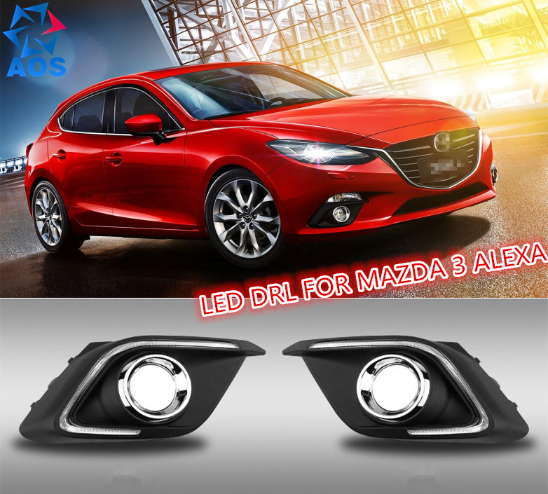 Dimming style relay LED DRL daylight Daytime Running Lights for Mazda 3 axela 2013 2014 2015 with fog lamps brand new updated led daytime running lights drl with black foglights cover for mazda 3 axela 2013 14