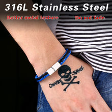 BEIER Stainless steel Man's High Quality fashion simple blue colour Leather Bracelet Bangle For Man Boys Gift B004(China)