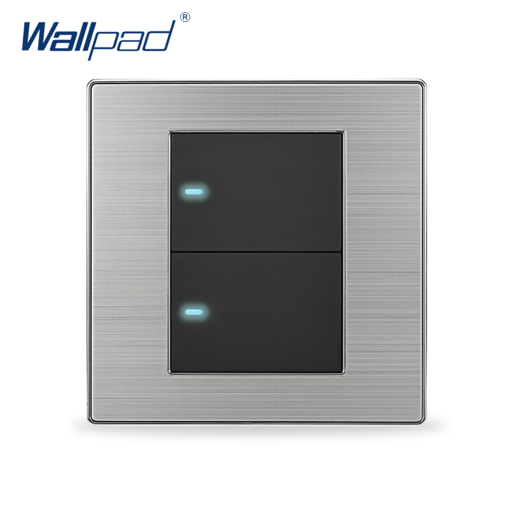 цена на 2018 Hot Sale 2 Gang 1 Way Wallpad Luxury LED Light Switch Push Button Wall Switches Interruptor Pared 10A AC 110~250V