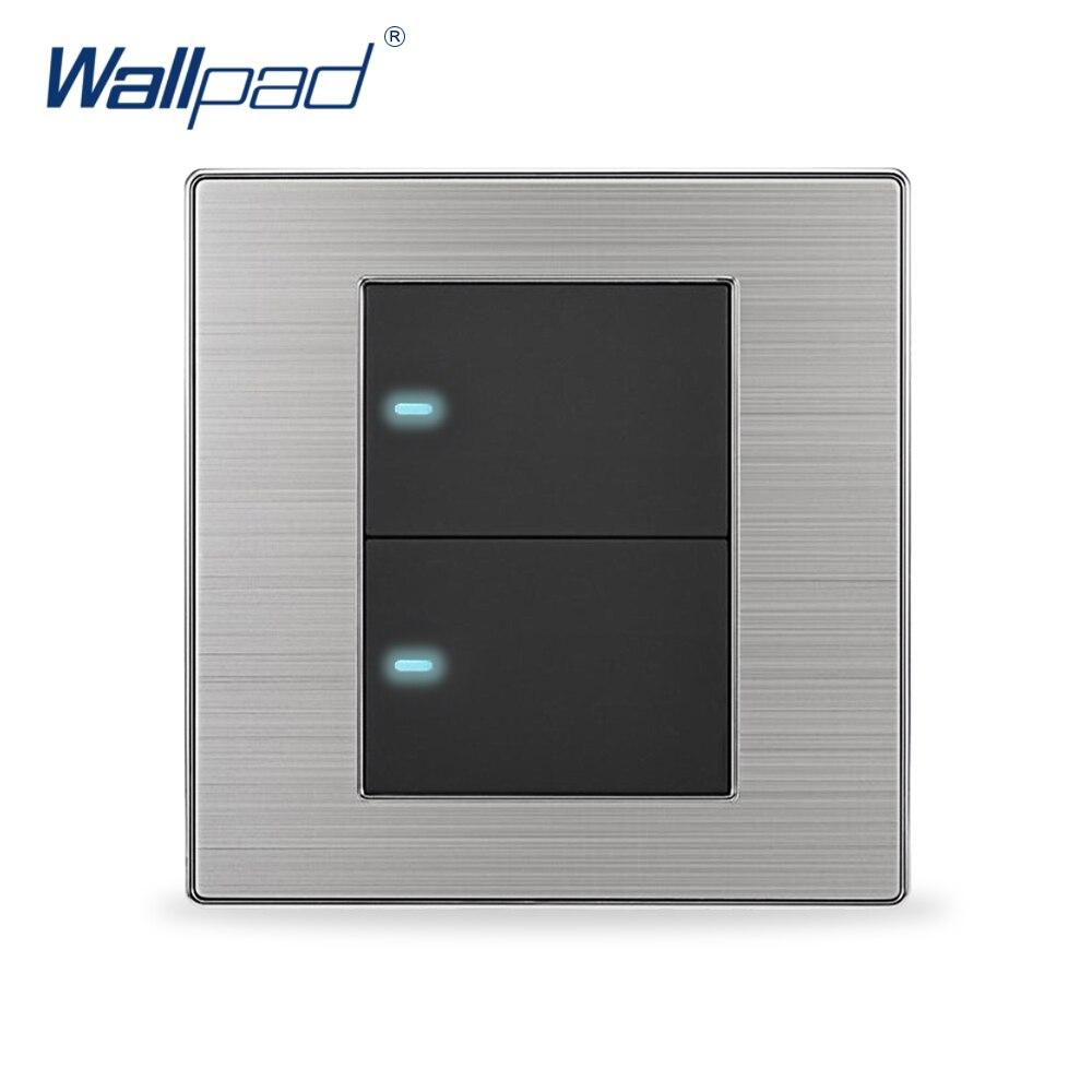 2018 Vente Chaude 2 Gang 1 Voies Wallpad De Luxe LED lumière Commutateur à Bouton-Poussoir Interrupteurs Muraux Interrupteur Pared 10A AC 110 ~ 250 V