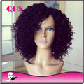 Высокая плотность странный вьющиеся Glueless парик человеческих бразильские волосы необработанные вьющиеся парики с отбеленными бабочка-узлов детской волос