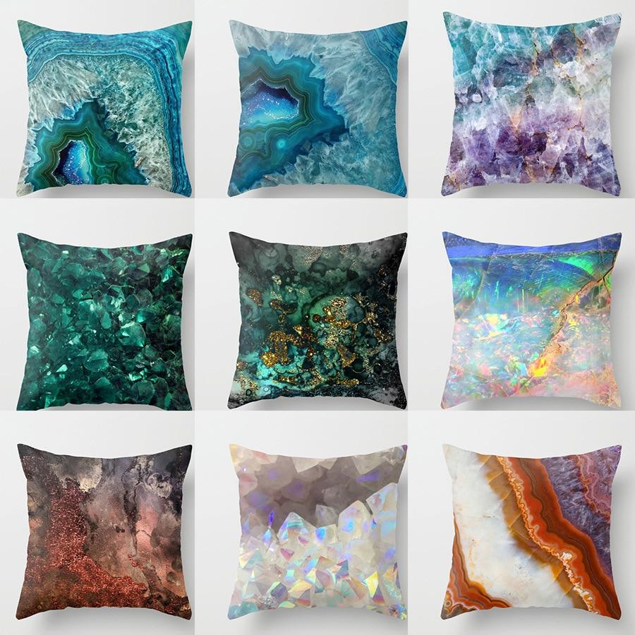 Print Art Cushion Cover MediterraneanNavy Blue Gamer Chair Pillow Case For Sofa Soft Retro Marble Geometric Sea Ocean Turquoise