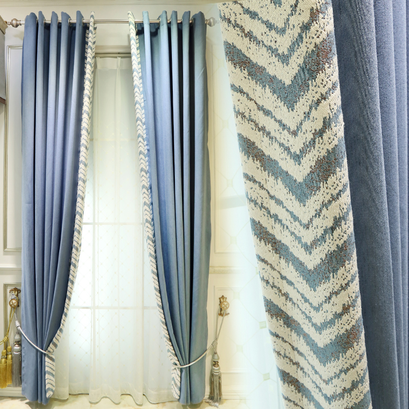 Custom curtain Nordic modern Thicken Jacquard cotton blue splice livingroom bedroom window blackout curtain yarn tulle M677Custom curtain Nordic modern Thicken Jacquard cotton blue splice livingroom bedroom window blackout curtain yarn tulle M677