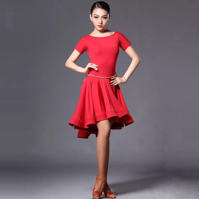 Latin Dance Skirt Woman Practice Dress 2018 Performance    Red Black  Rumba Cha    Dresses