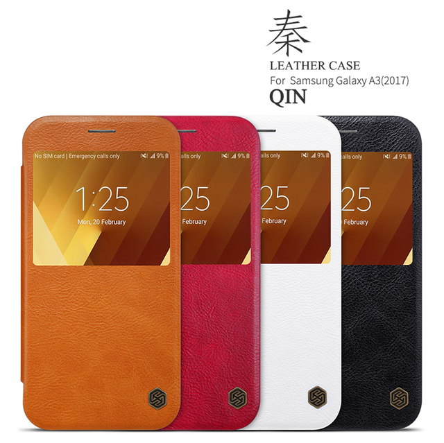 best service 09dee 5da33 US $9.89 20% OFF|sFor Samsung Galaxy A3 2017 Flip Case Nillkin Qin Series  PU Leather Cover Flip Case For Samsung Galaxy A3 2017 With Window-in Flip  ...