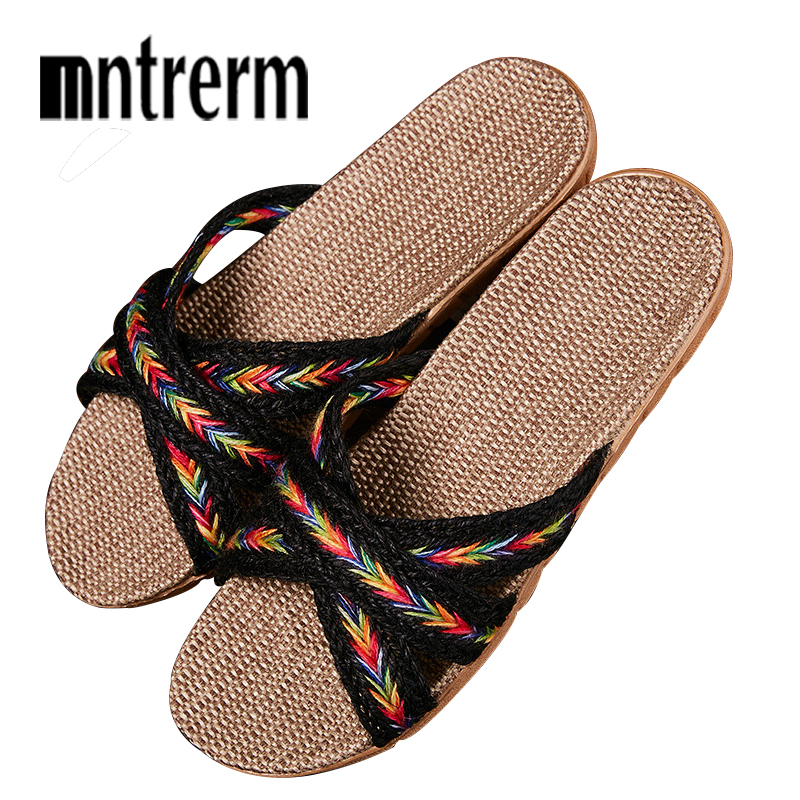 Mntrerm New Women Men Linen Slippers Summer Autumn Home Non-slip Slipper Female Outside Beach Slippers Girls Flat Shoes SlippersMntrerm New Women Men Linen Slippers Summer Autumn Home Non-slip Slipper Female Outside Beach Slippers Girls Flat Shoes Slippers