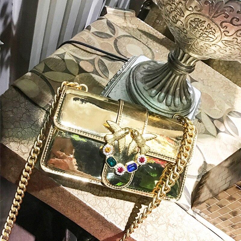 2018 Luxury Brand Women Chain Shoulder Bag Messenger Bag Famous Gold Bird Logo Designer Handbag and Purse Diamond Gem Clutch Bag beaumais mini chain bag handbag women famous brand luxury handbag women bag designer crossbody bag for women purse bolsas df0232