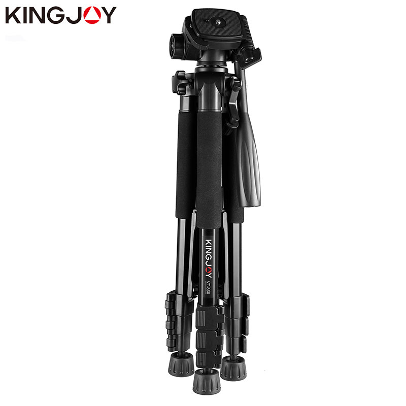 KINGJOY Officia VT 860 Video Tripod Kits Camera Stand Profesional Aluminum Alloy For All Models Flexible Portable Stativ Holder in Live Tripods from Consumer Electronics
