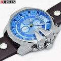 Montre homme 2016 curren mens relojes de primeras marcas de lujo de cuero azul reloj de los hombres de curren hombres famosos relojes relogio masculino