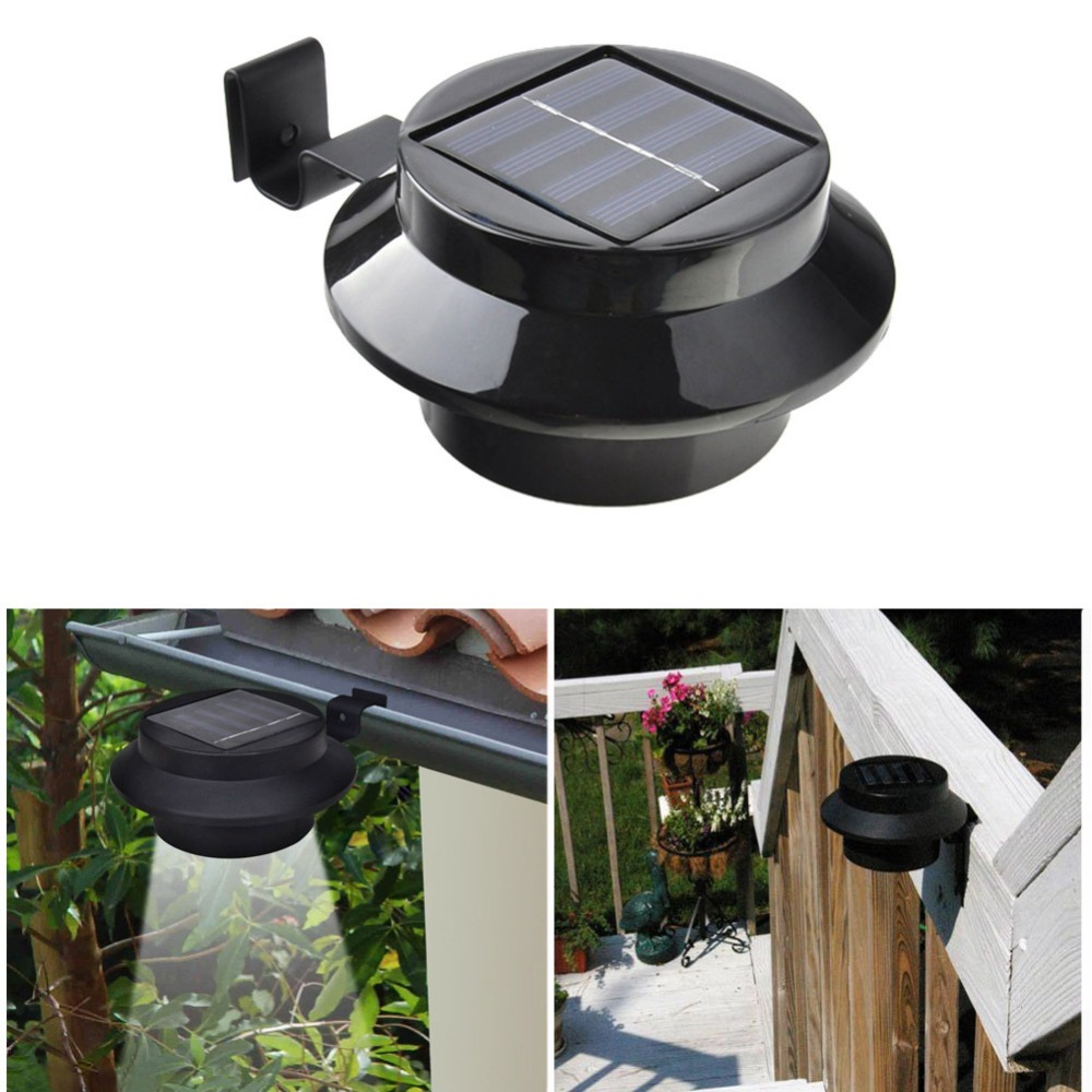 Waterproof outside Wall Garden Solar Lamp Light 3 Led iP65 Light Sensor Control Solar Powered Fence Gutter Solar Sensor outdoor fghgf 2018 light sensor 6 led wall light outdoor garden fence ip55 waterproof lamp automatically light gutter fence warm white