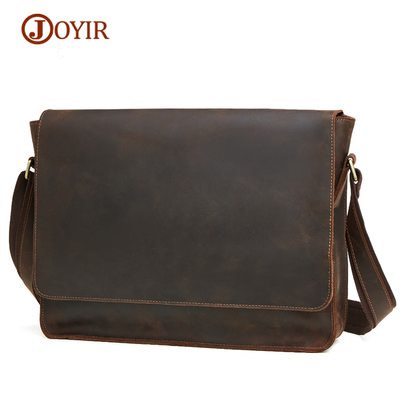JOYIR New Arrival Men Genuine Leather Shoulder Bag Vintage Large-Capacity Crossbody Bags High Quality Men's Cow Leather Handbags