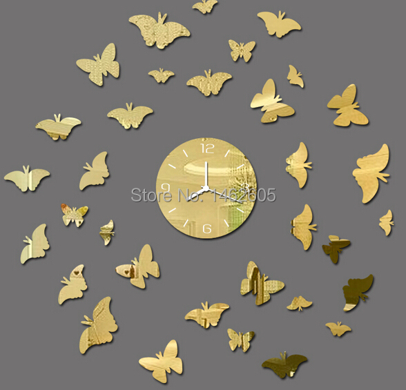 New 2014 arrival 33pieces butterfly wall art clock safe decor ...