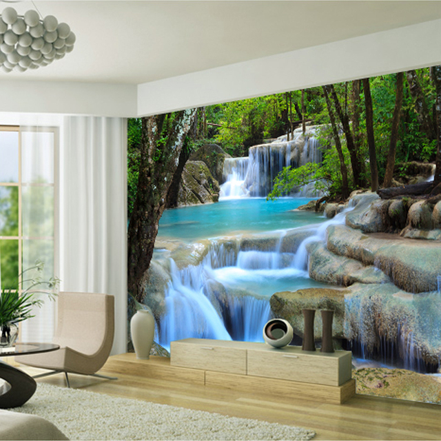 natural seenery Forest river waterfall background wall decorative ...