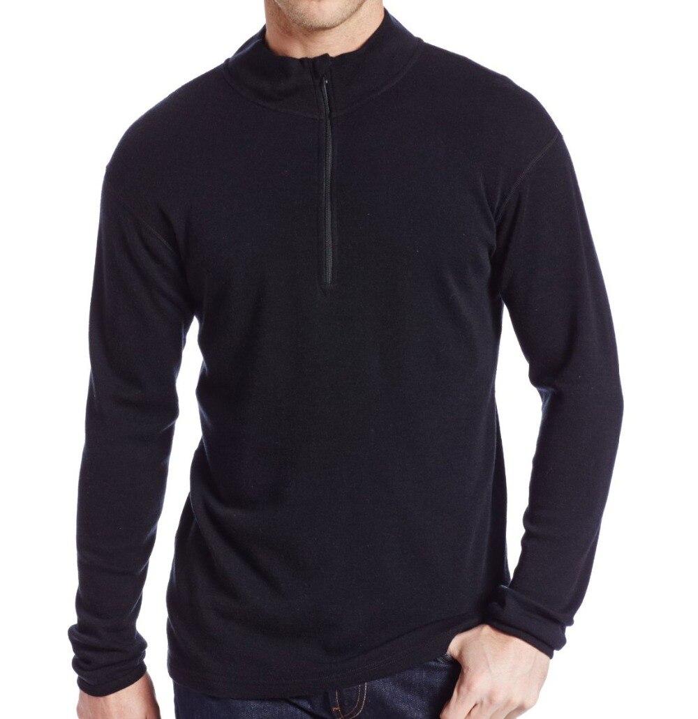 Człowiek nowy marka 100% czystej grzywny Merino wełna mężczyźni średniej wagi 1/4 Zip na zewnątrz drzwi warstwa bazowa ciepłe termiczne długie z długim rękawem ubrania koszula wierzchołki w Koszulki od Odzież męska na  Grupa 3