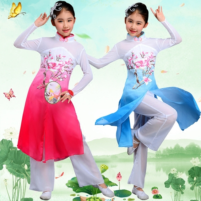 c207021e1 Chinese Classic Folk Dance Costume for Girl Yangko Dance Dress for Stage  Outfit Umbrella Dance Costume Child Fan Dance Clothing