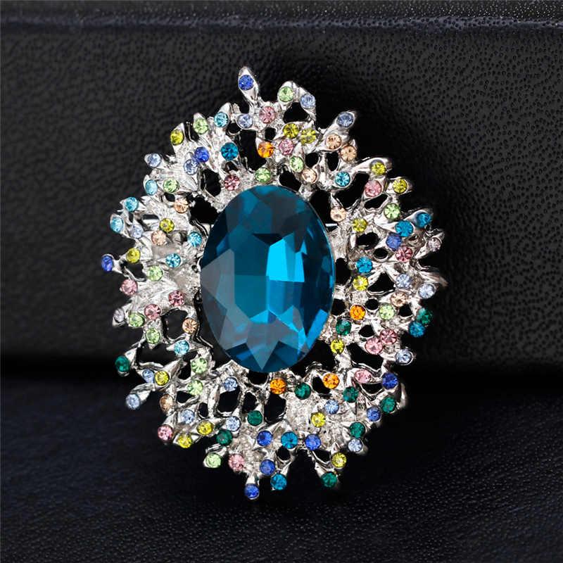 สีสัน Rhinestone Sea Blue คริสตัลเข็มกลัด Silver Tone Pins และเข็มกลัดผู้หญิงเข็มกลัดเครื่องประดับผ้าพันคอ Pin ใหม่ปีของขวัญ