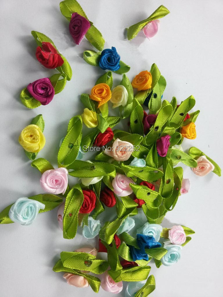 Flower heads for crafts - Mixcolor 1 5cm Mini Silk Roses Heads Making Satin Ribbon Hair Garland Decoration Accessories Diy Craft Arrangements Scrapbooking