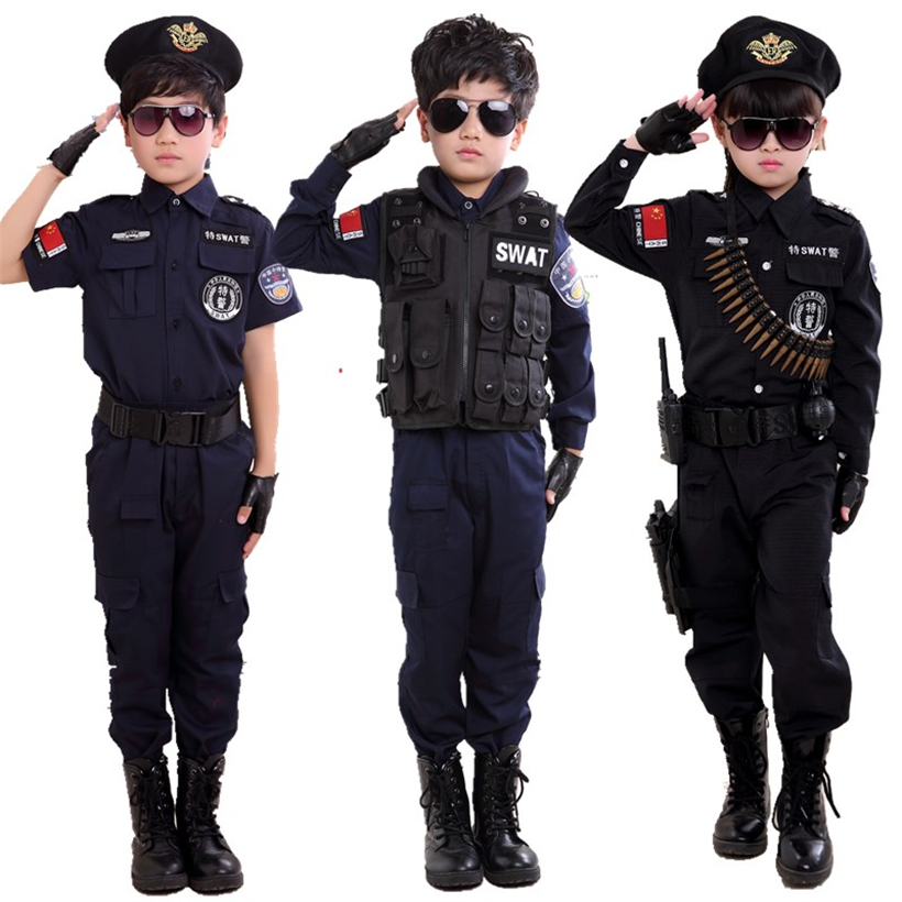 Boys Policemen Costumes Children Cosplay For Kids Army Police Uniform Clothing Set Long Sleeve Fighting Performance Uniforms