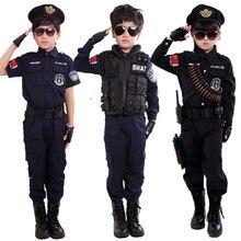 Костюм Полицейского для мальчиков; Детский костюм для костюмированной вечеринки; Униформа армейской полиции; комплект одежды с длинными рукавами; униформа для боевых выступлений
