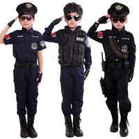 Garçons policiers Costumes enfants Cosplay pour enfants armée Police uniforme vêtements ensemble à manches longues combat Performance uniformes