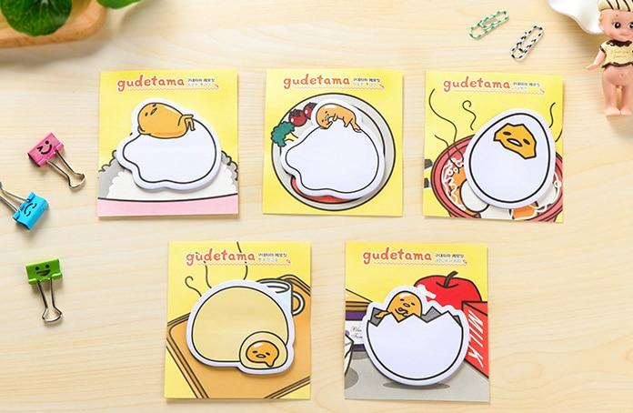 2pcs Kawaii Gudetama Lazy Egg Sticky Notes Self-Adhesive Memo Pad eggshell Post It Bookmark School Office Supply