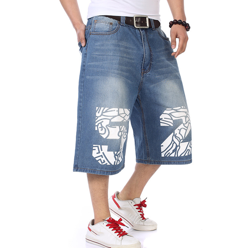 Moto & Biker Style Denim Short   Jeans   Men 2017 Summer HIP HOP Harlan Straight Loose man   Jeans   Plus size 30-42 44 44