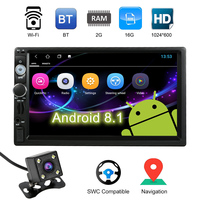 7 Inch Smart Android 8.1 2 Din BT Car Stereo Radio Player GPS Navigator Multimedia + Wi Fi AM FM RDS Free Map Rearview Camera