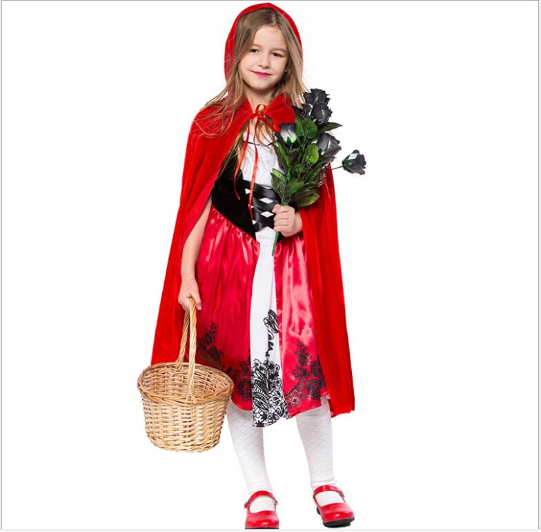 Kid Red Hat Red Riding little Hood Kid cute Christma Cosplay Costume Suit Dress Skirt Apron Cape for girl kid/children Full Sets