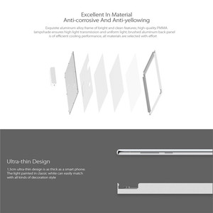 Image 4 - XIAOMI Yeelight Ultra Thin LED Ceiling Panel Light Downlight Dustproof LED Panel Light 30x30cm/30x60cm AC220 240V