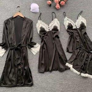 Image 2 - 2019 Sexy Nightwear Lace Silk Pyjamas Women Satin Pajamas Sets 4 Pieces Sleepwear Pijama With Chest Pads Home Wear
