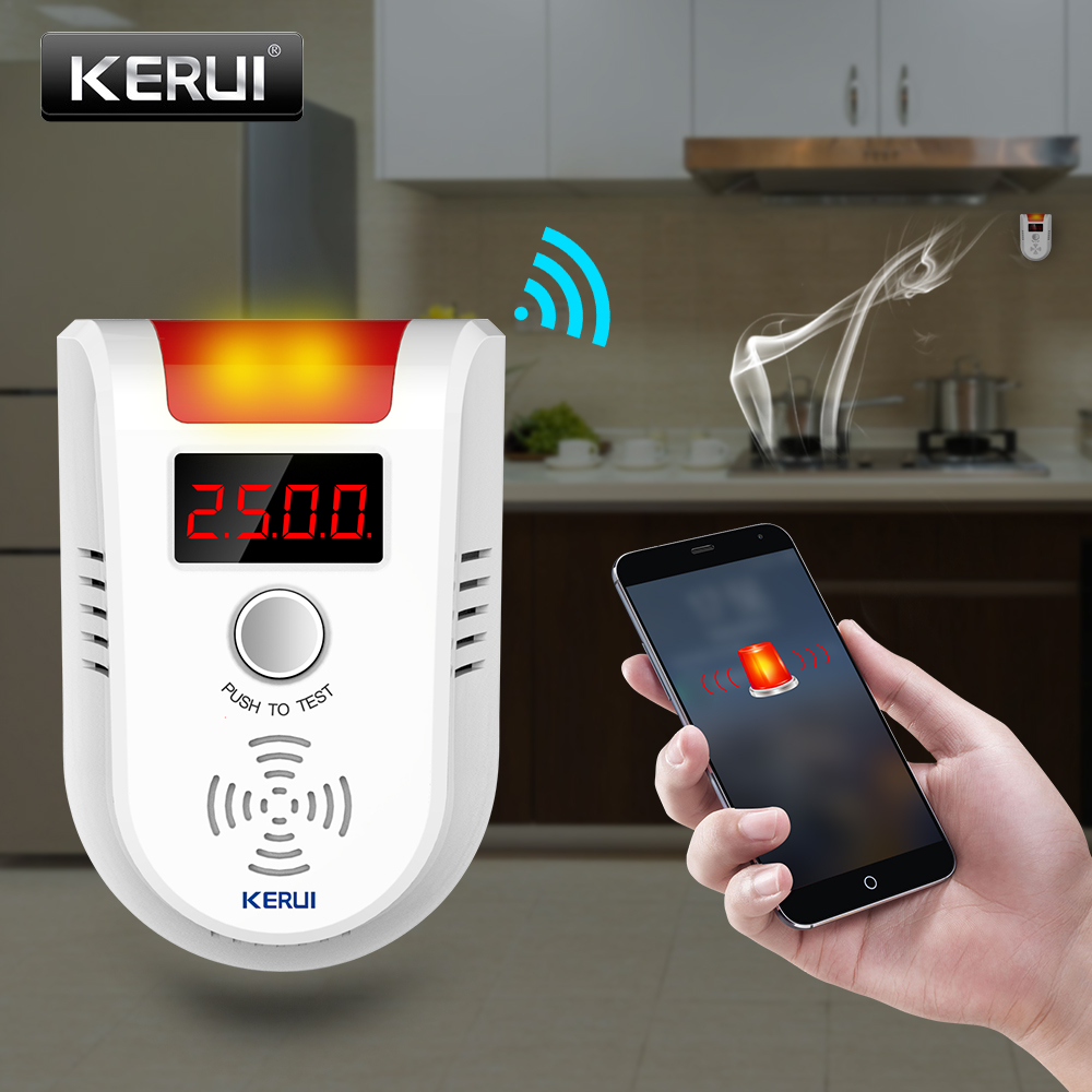 KERUI WIFI APP Voice Prompt Combustible Gas Leakage Detector Alarm System Display Screen Wireless Security Gas Sensor Alarm combustible gas leakage detector white ac 110 220v
