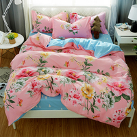Peony flower Blue pink Bedding Set Chinese style Duvet Cover blue solid color bed sheet Pillowcase Elegant Peony Bedlinens