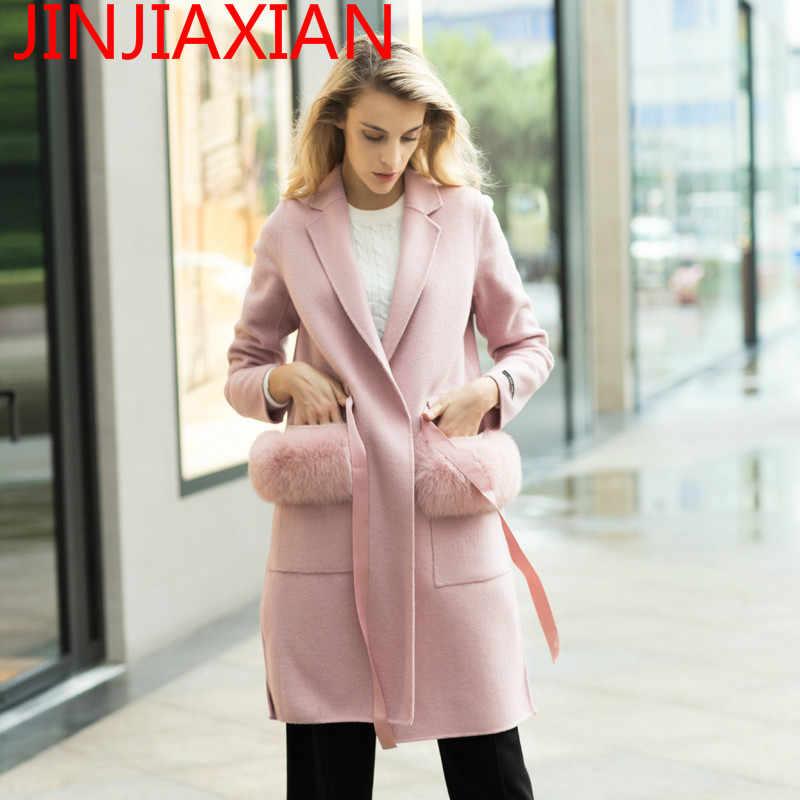 Musim Gugur dan Musim Dingin Berkualitas Tinggi Merek Suit Kerah Wanita Mantel Wol Panjang Bagian dengan Tangan Dua Sisi itu, kasmir Mantel Jaket Mantel