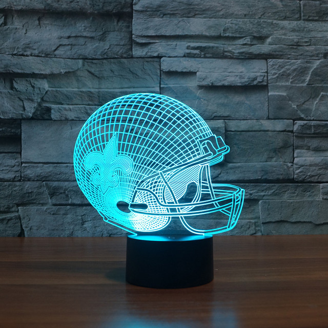 Incroyable New Orleans Saints Team 3D Effect American Football Helmet Led Light  Furniture