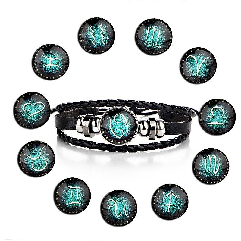 LNRRABC 1PC New Hot Fashion 12 Constellations Bracelets For Men Boys Jewelry Bangle Bracelets Travel Accessories Gifts