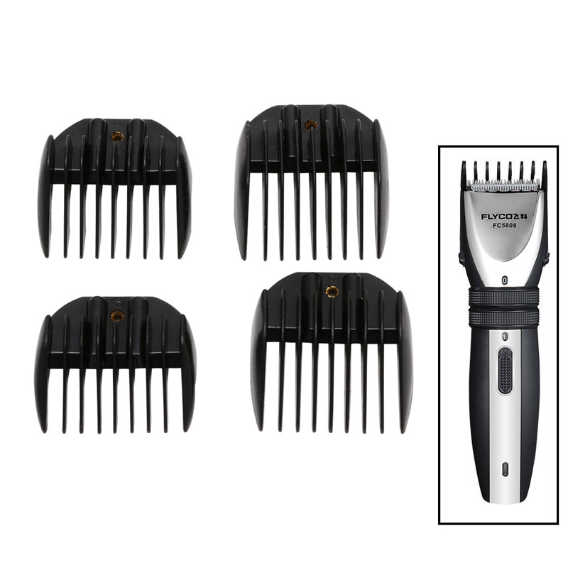 4Pcs Guide Comb Attachment For Electric Hair Clipper Trimmer Shaver Black ef adjustable bellows focusing attachment black