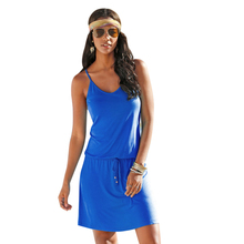 Summer Dress 2017 Korean Fashion Slim Woman Dress Sexy High Waist Sleeveless Round Collar Strap Dress Casual Dress