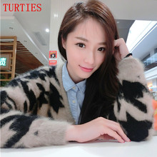 New Autumn And Winter women knitting Mink Cashmere Coat Cardigan In the long section loose Sweaters coat long-haired Mink fluff