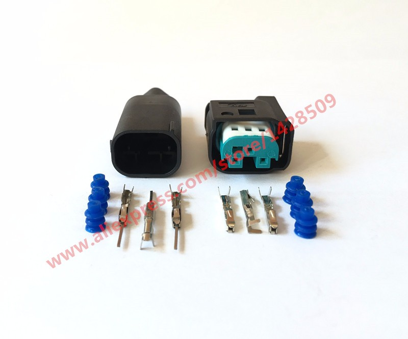 10 Sets 3 Pin AMP Wire Connector Female Male Accelerator Pedal Socket Waterproof Electrical Connector For