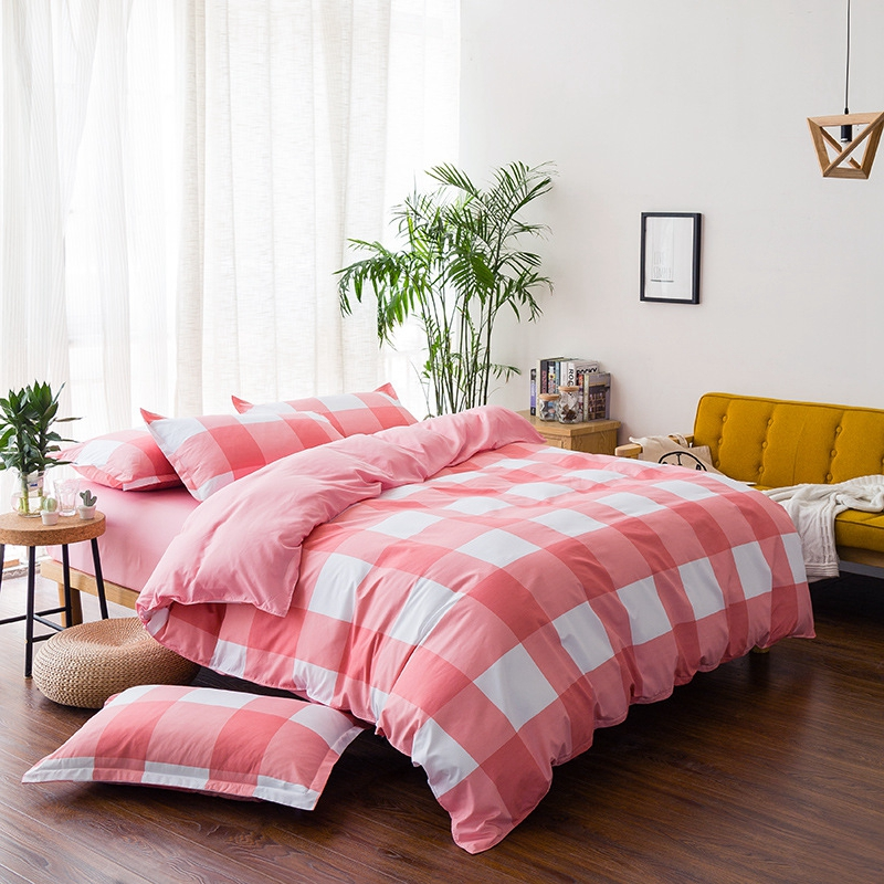 Red White Plaid Bedding Sets 3-4pcs/lot Ab Sides Duvet Cover Sets For Kids Adults Single Double Bed Xf610-36 Home Textile